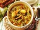 Рецепта Зелева чорба със свинско месо, картофи и боб